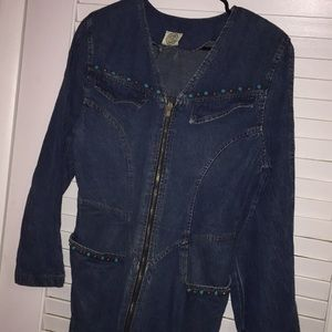 Vintage 70s jean and turquoise stone dress
